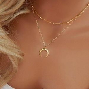 Jewelry - Moon Necklace Set Gold and Silver
